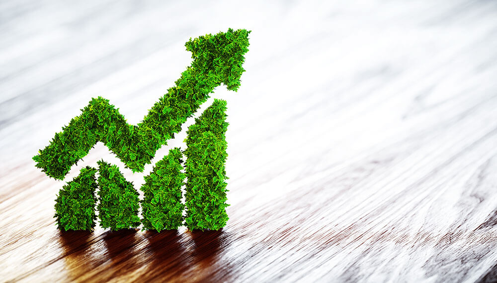 Sustainability - what does it actually mean - green performance with an upward arrow